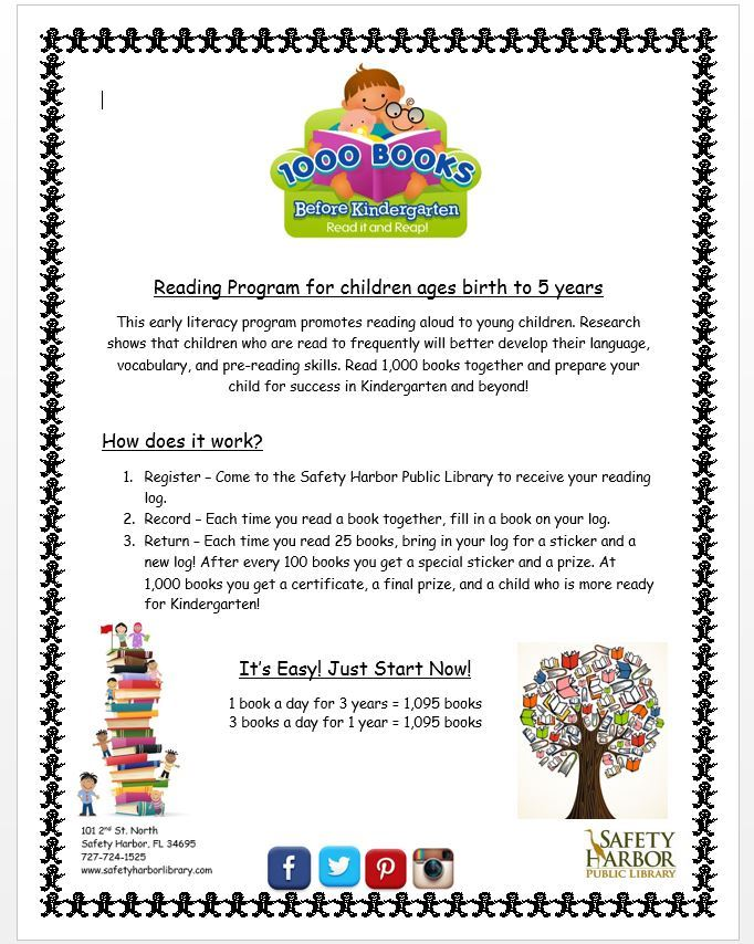 1000 books before kindergarten. Reading program for ages birth to 5 years. Register at the library.