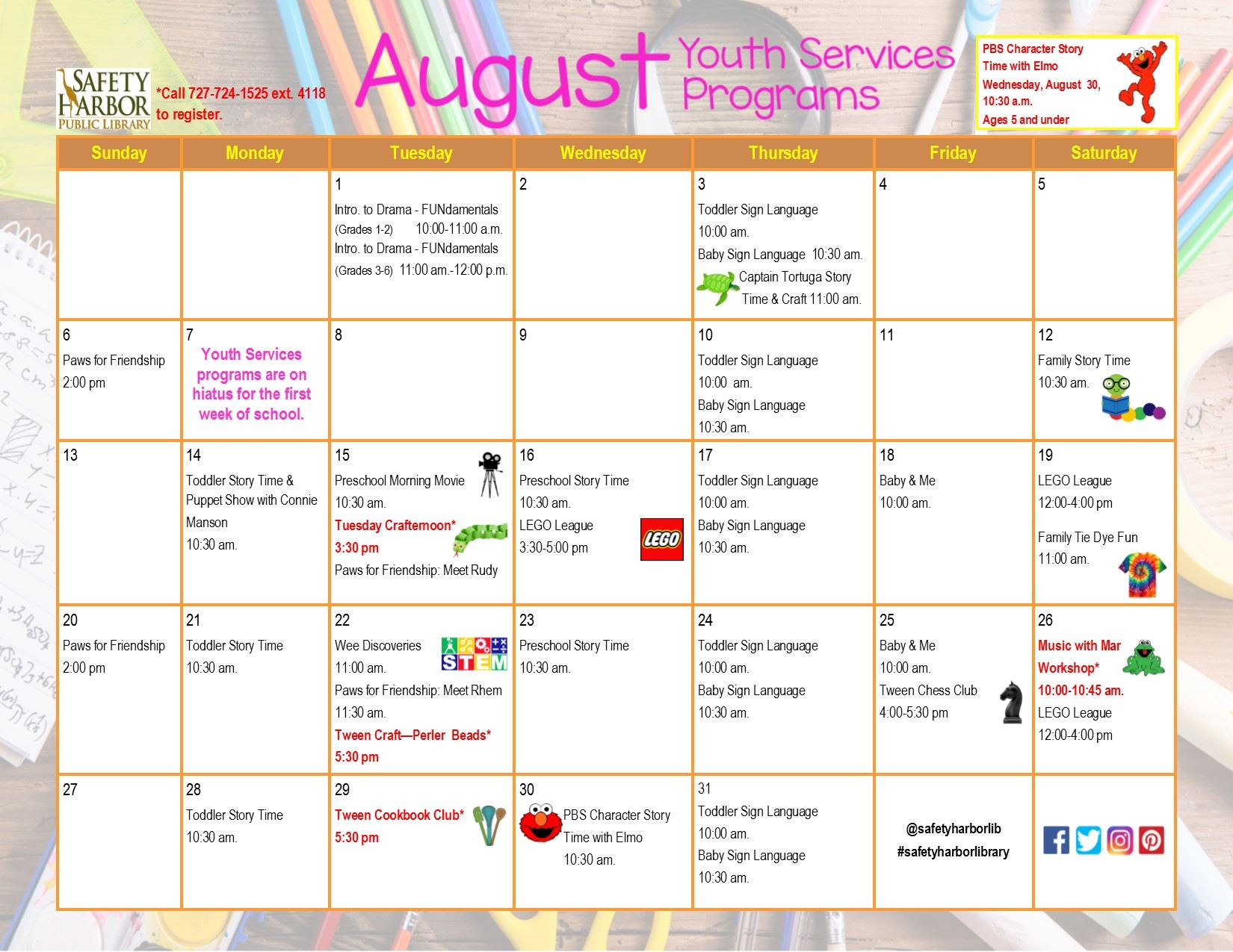 August 2017 Youth Services Calendar, Page 1
