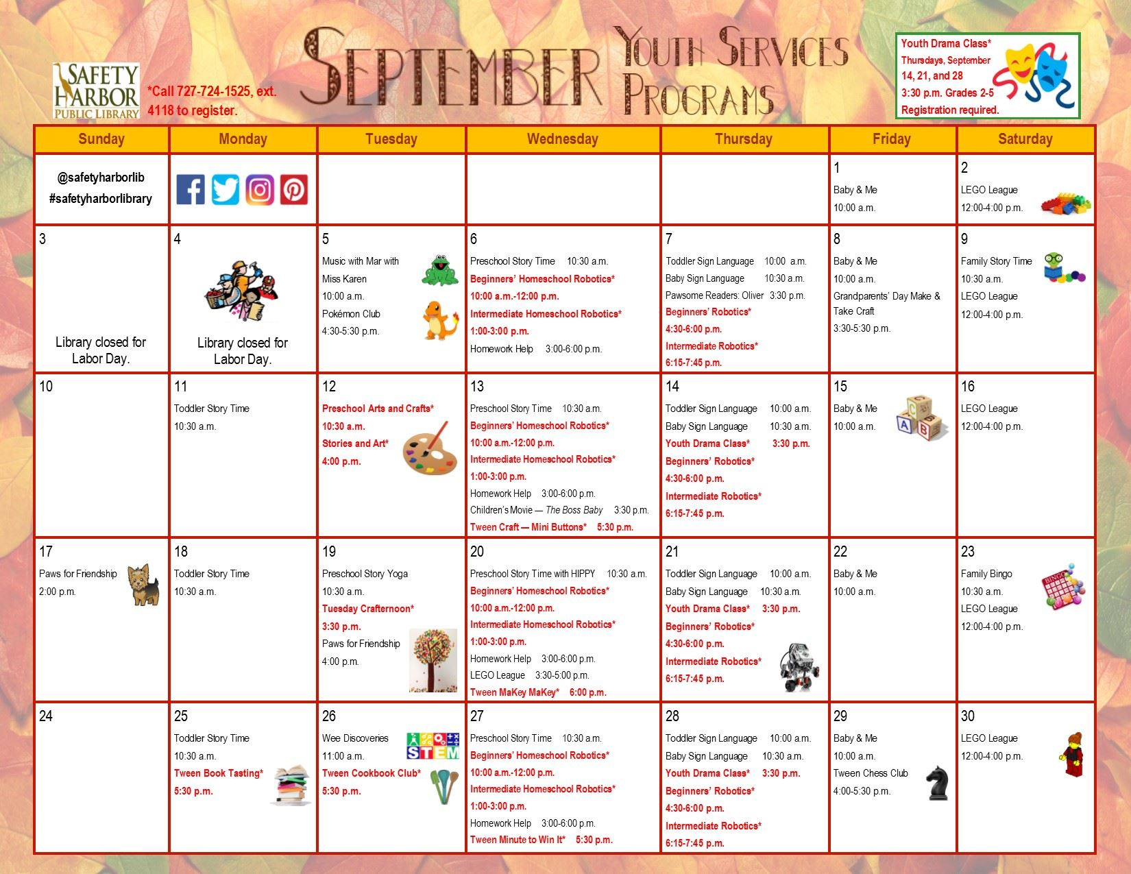 September 2017 Youth Services Calendar, Page 1
