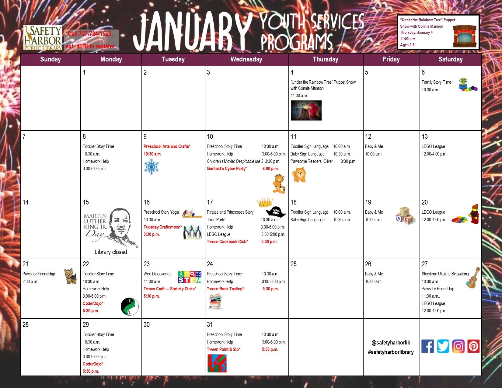 January 2018 Youth Services Calendar_front