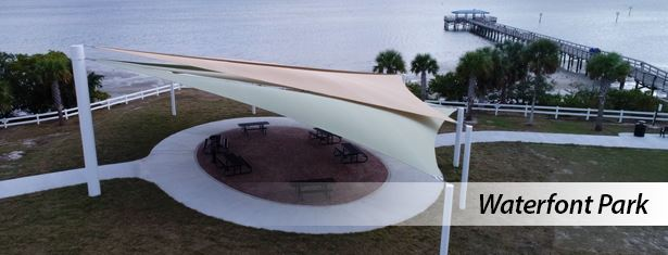 Shade sails at Waterfront Park and Safety Harbor Pier