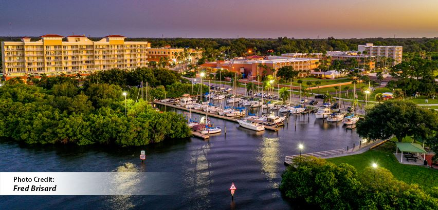 Aerial View of Safety Harbor from Tampa Bay looking at boat, Bayshore Boulevard and parks