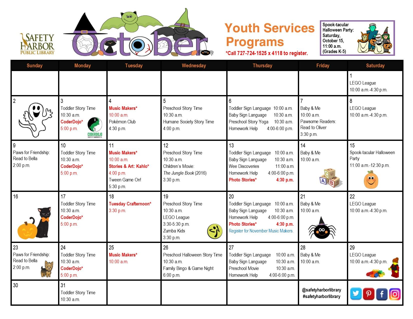 October 2016 Youth Services Calendar, Page 1