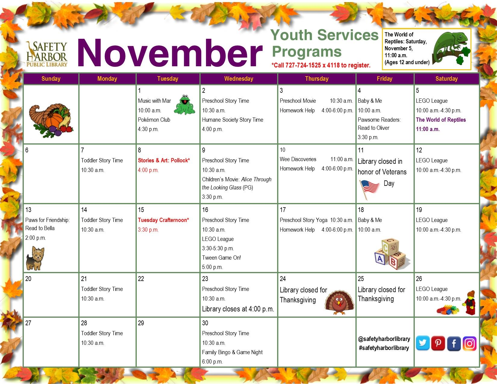 November 2016 Youth Services Calendar, Page 1