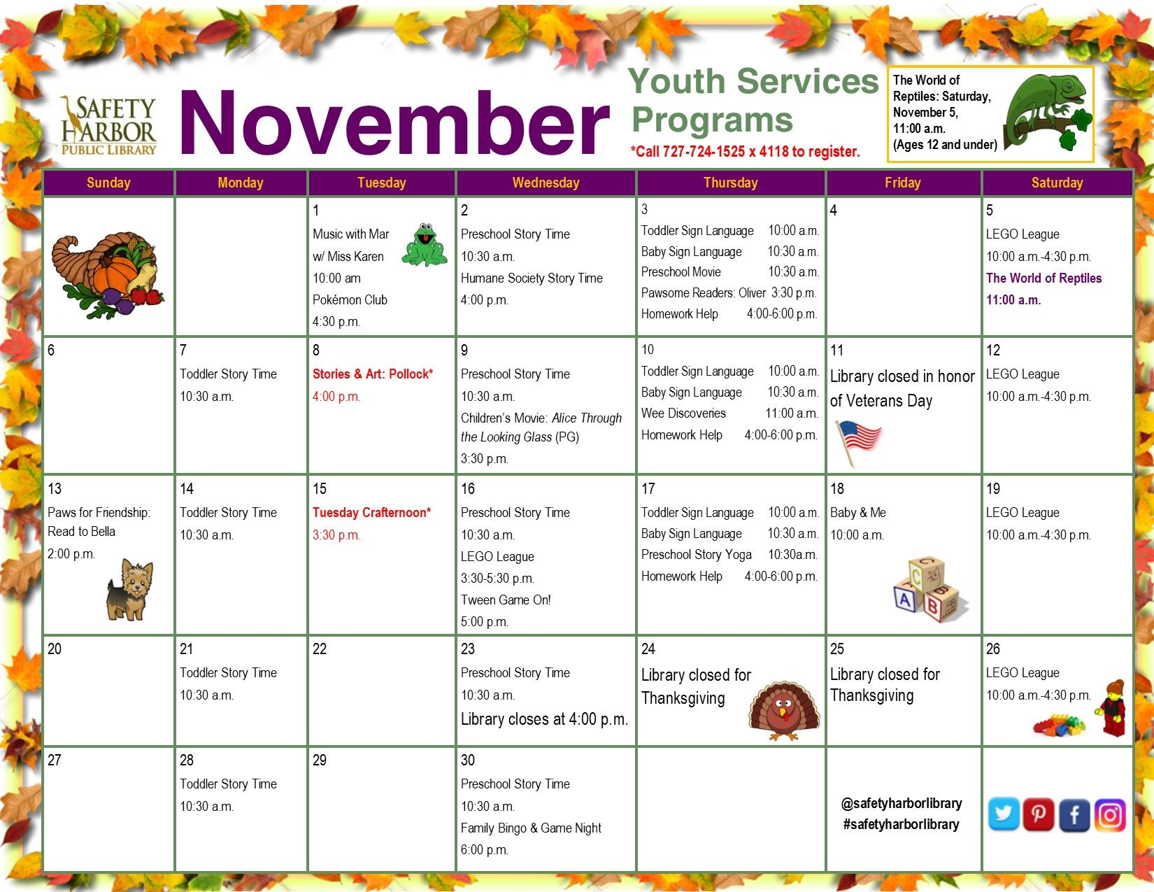 November 2016 Youth Services Calendar_Front