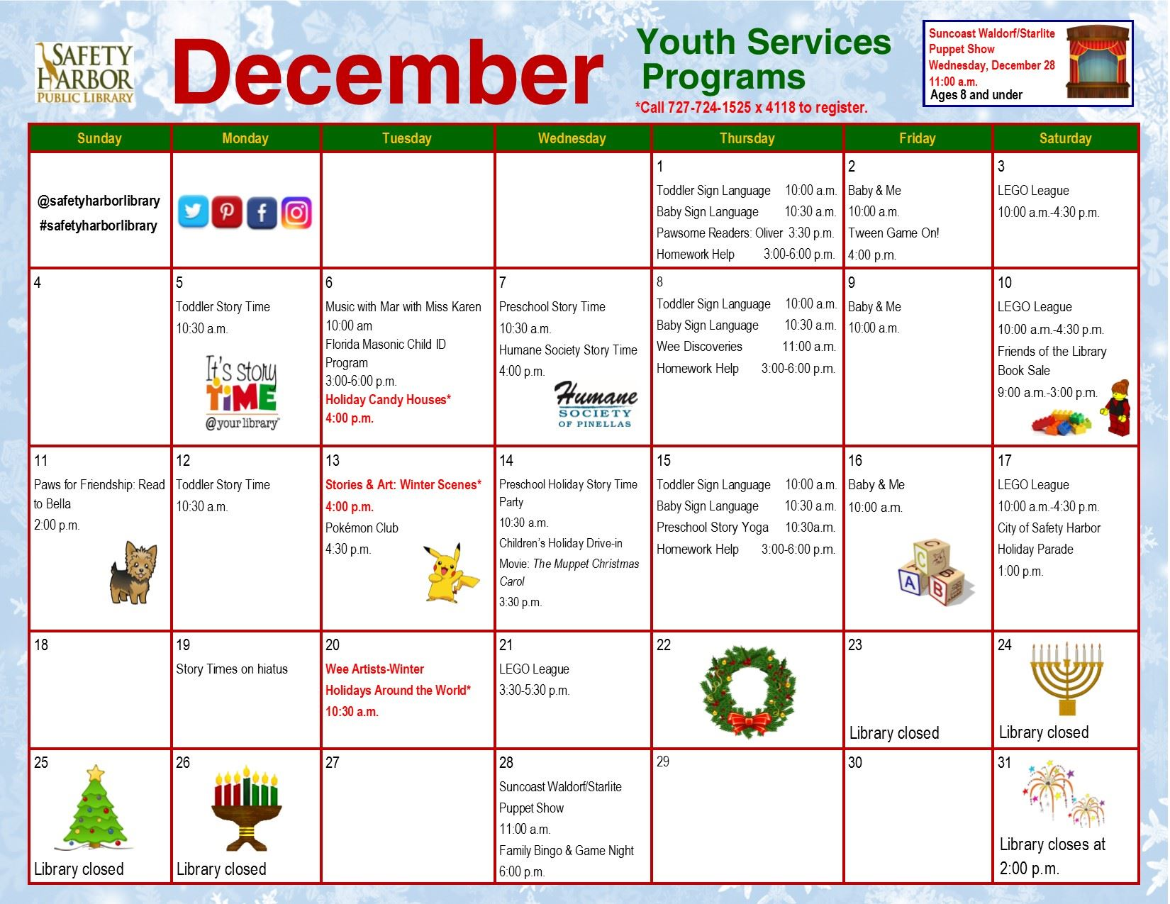 December 2016 Youth Services Calender, Page 2