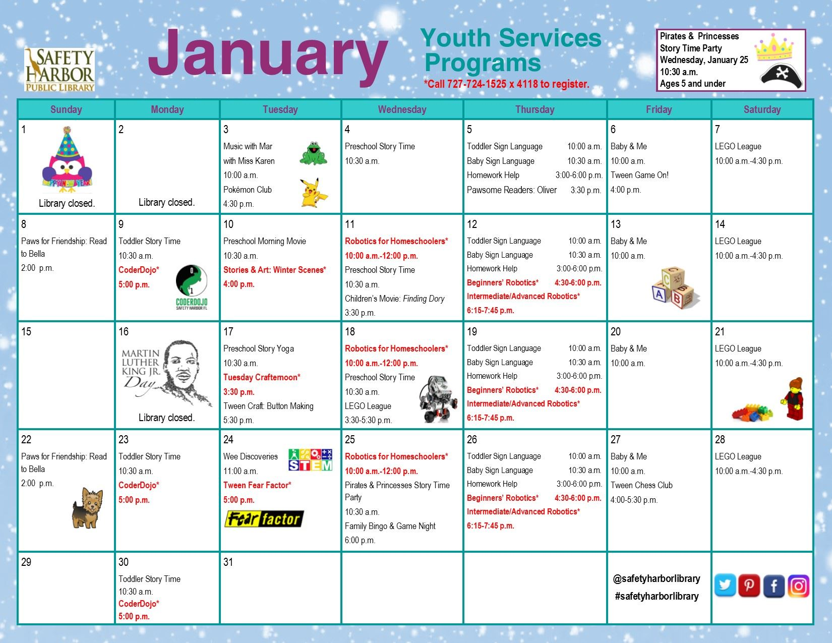January 2017 Youth Services Calendar, Page 1