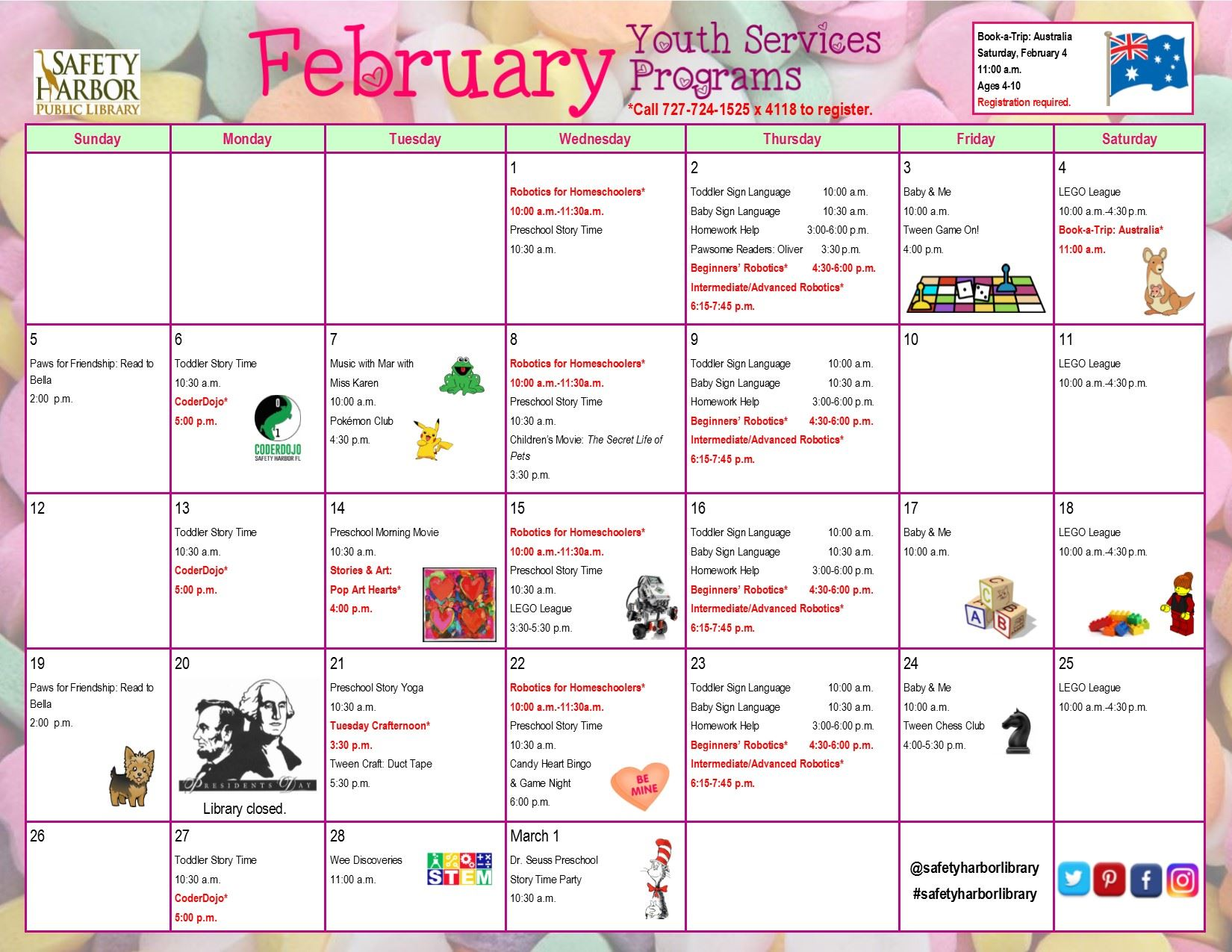February 2017 Youth Services Calendar