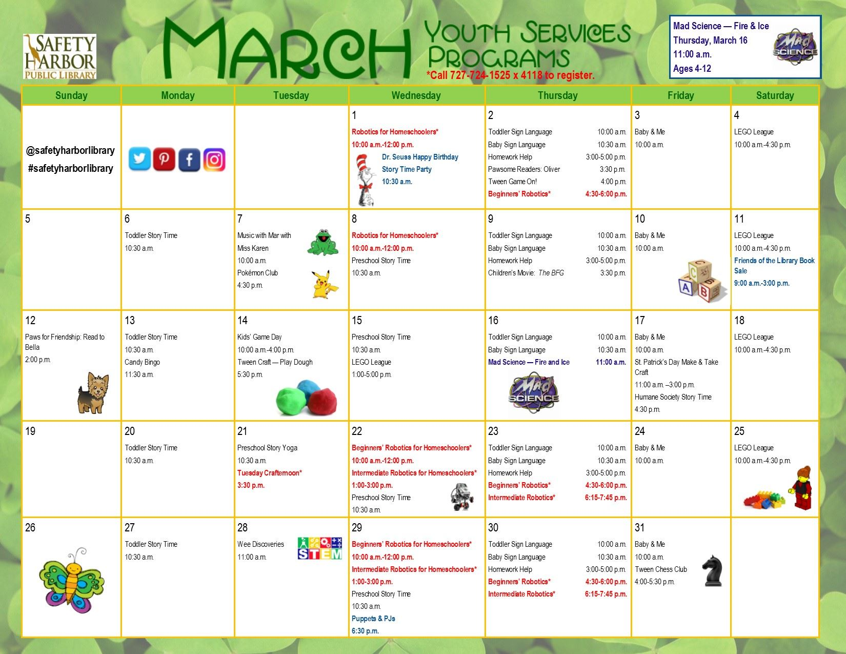 March 2017 Youth Services Calendar, Page 1