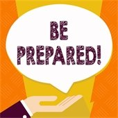 Be Prepared! Hand with word bubble above it.