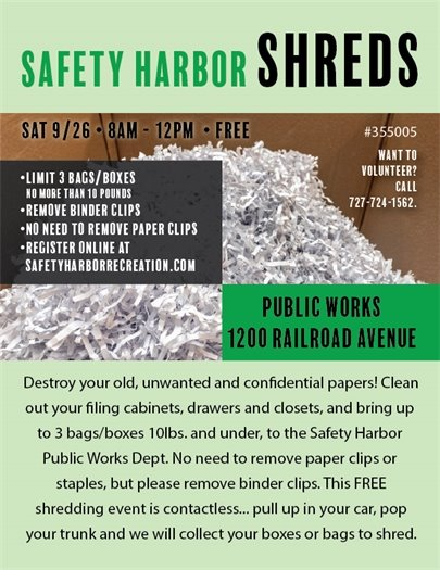 Safety Harbor Shreds flyer, Saturday, 9/26, 8am - 12pm. Image of a shredded pile of paper and event information. All information is included in text.