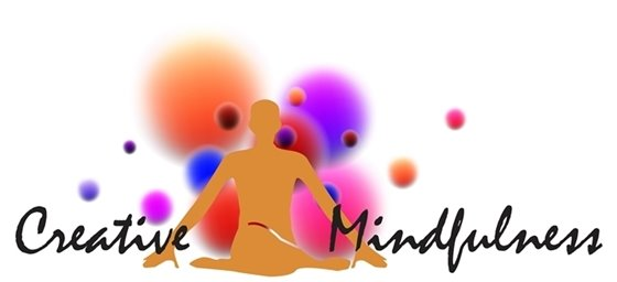 Person with legs crossed and arms out with abstract background. Creative Mindfulness