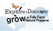 Explore Discover Grow at Folly Farm Nature Preserve, logo with butterfly and clouds