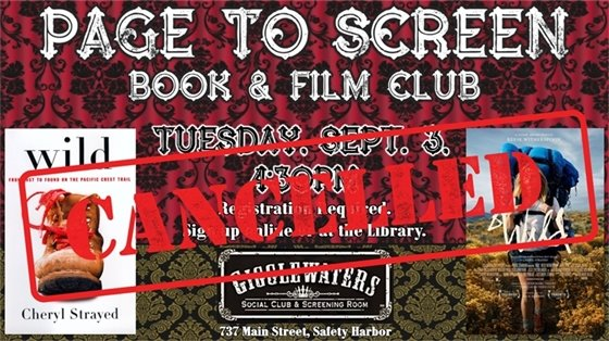Page to Screen Book & Film club is cancelled