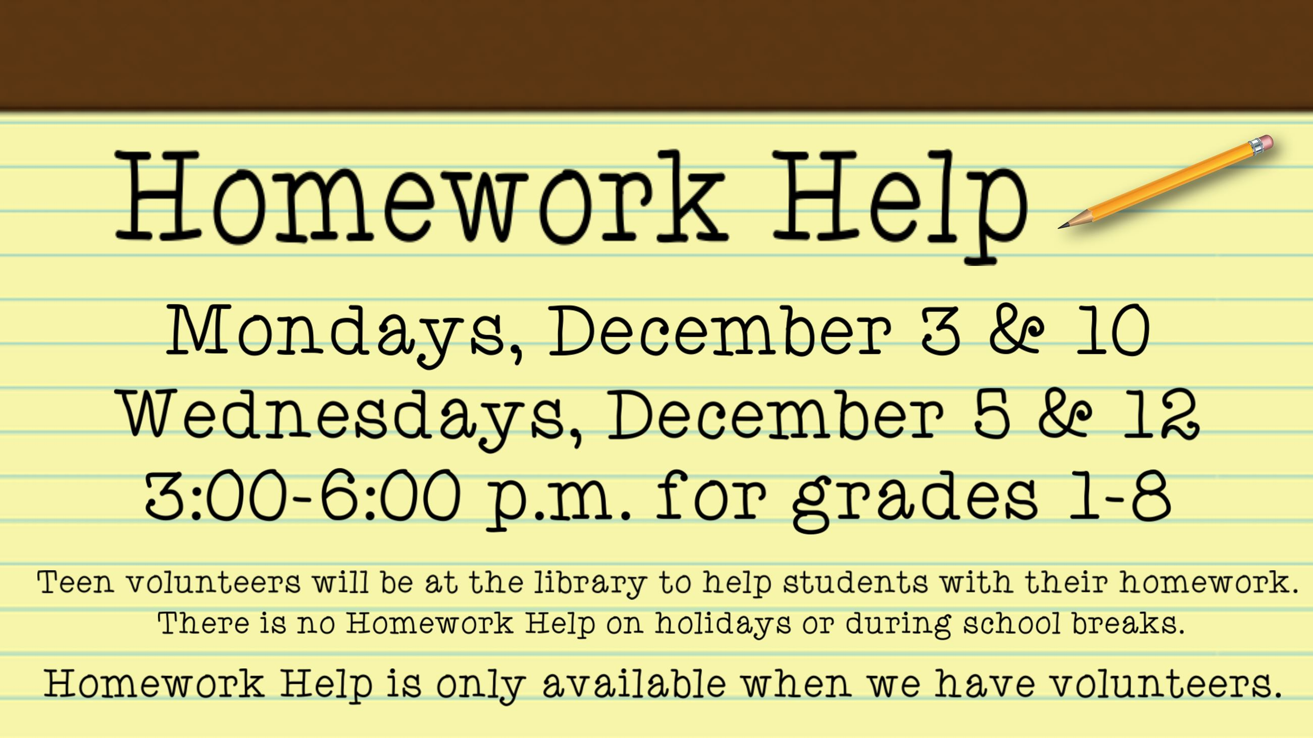 Homework Help. December 12. 10:30 a.m. Ages 5 and under. A sepcial story time party with Spencer the